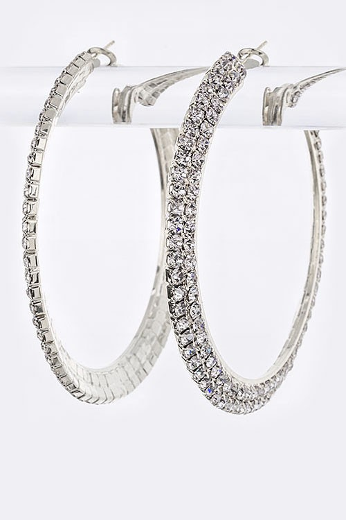 2 Row Rhinestone Hoops