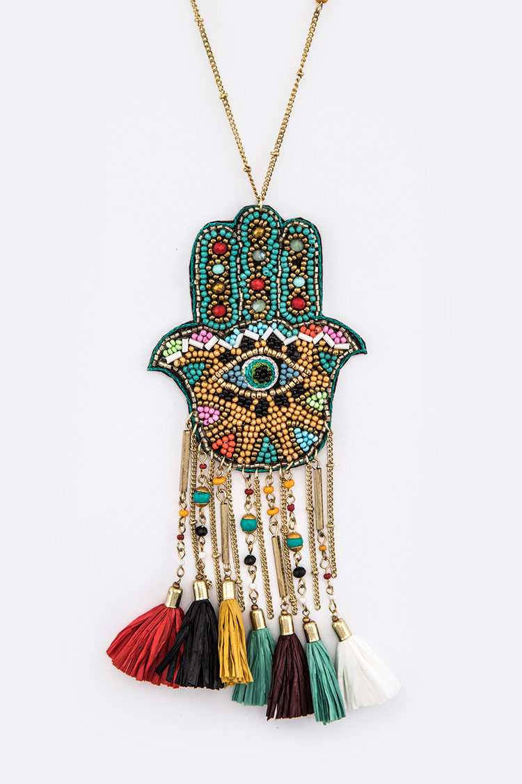 Beaded Eye Iconic Tassel Pendant Necklace