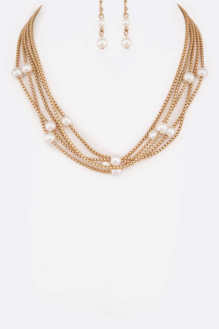 Pearls Station Box Chain Layer Necklace Set
