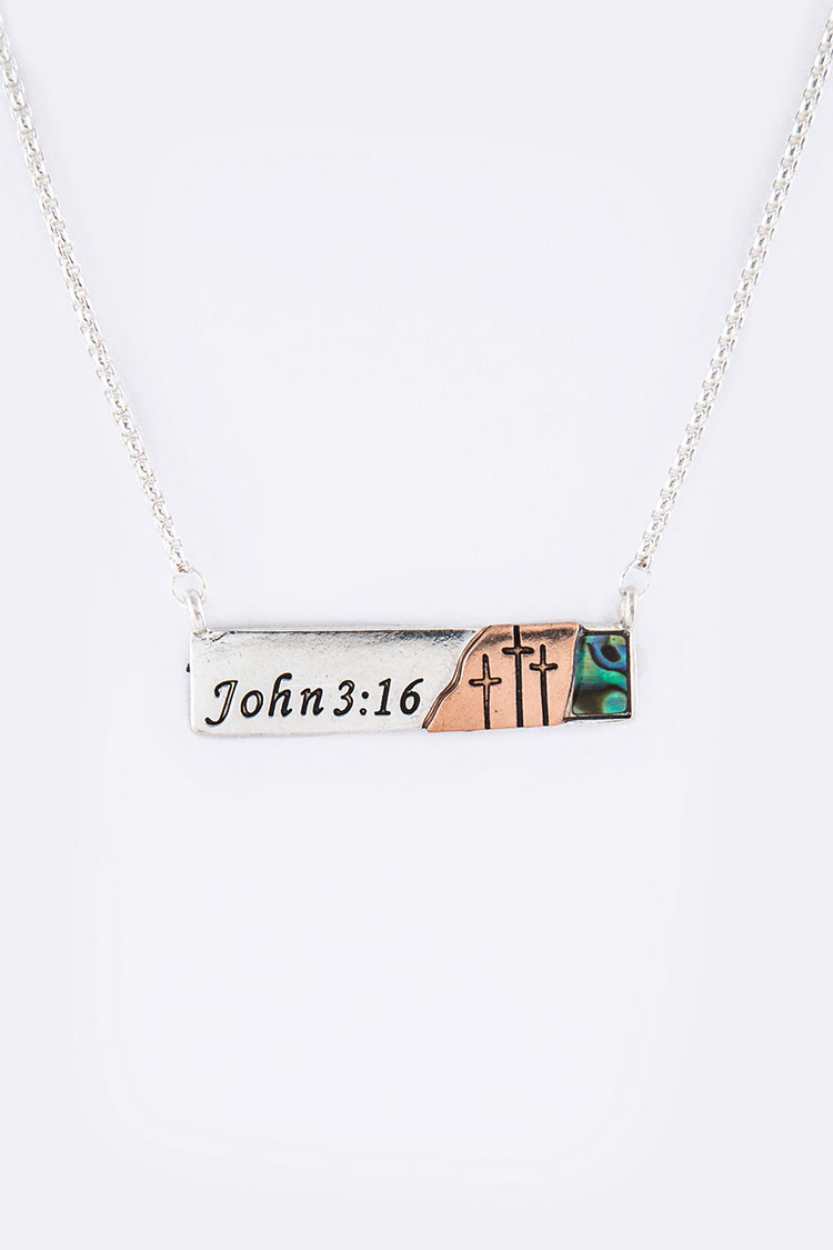 John 3:16 Abalone Pendant Necklace Set