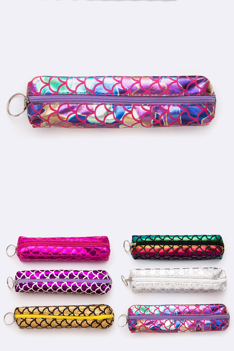 Mermaid Scale Printed Iconic Pencil Makeup Case Set