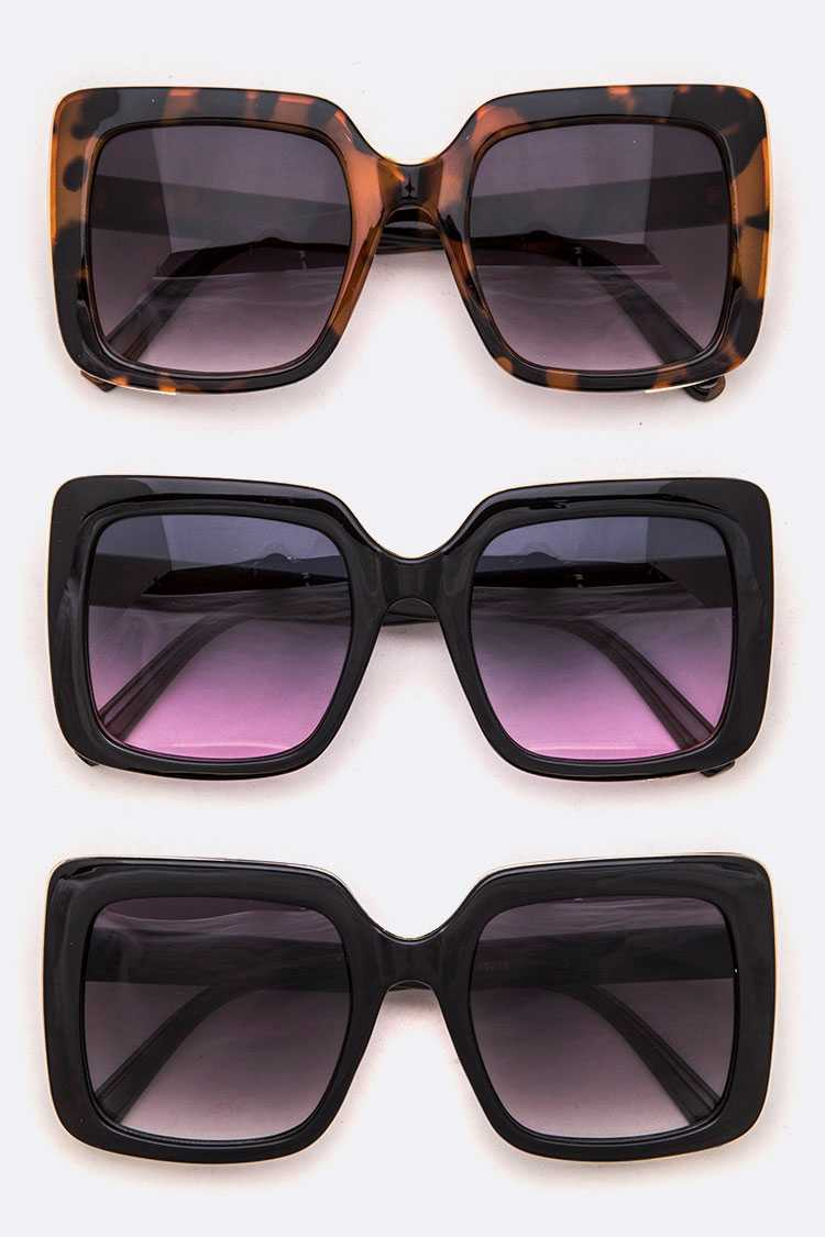 Oversized Square Fashion Sunglasses Set