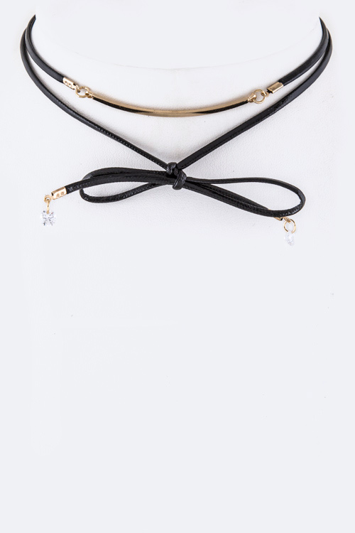 Metal Bar Wrapped Choker Necklace