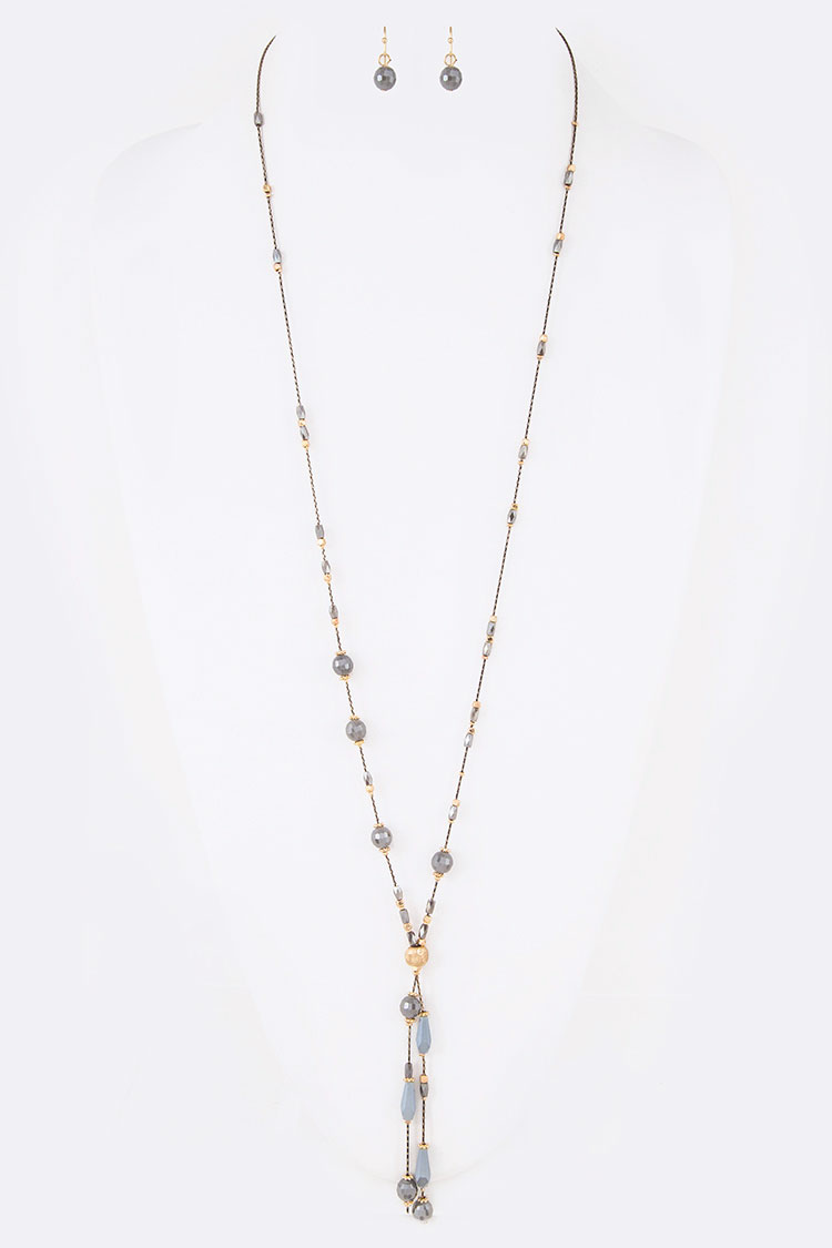 Crystal Station Metallic Chain Drop Long Necklace Set