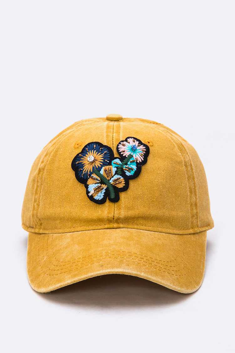 Embroidered Flower Vintage Cotton Cap