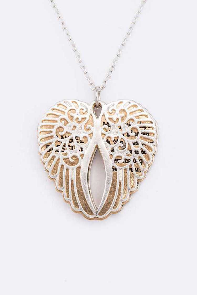 Angel Blessing Cutout Wing Abalone Pendant Necklace