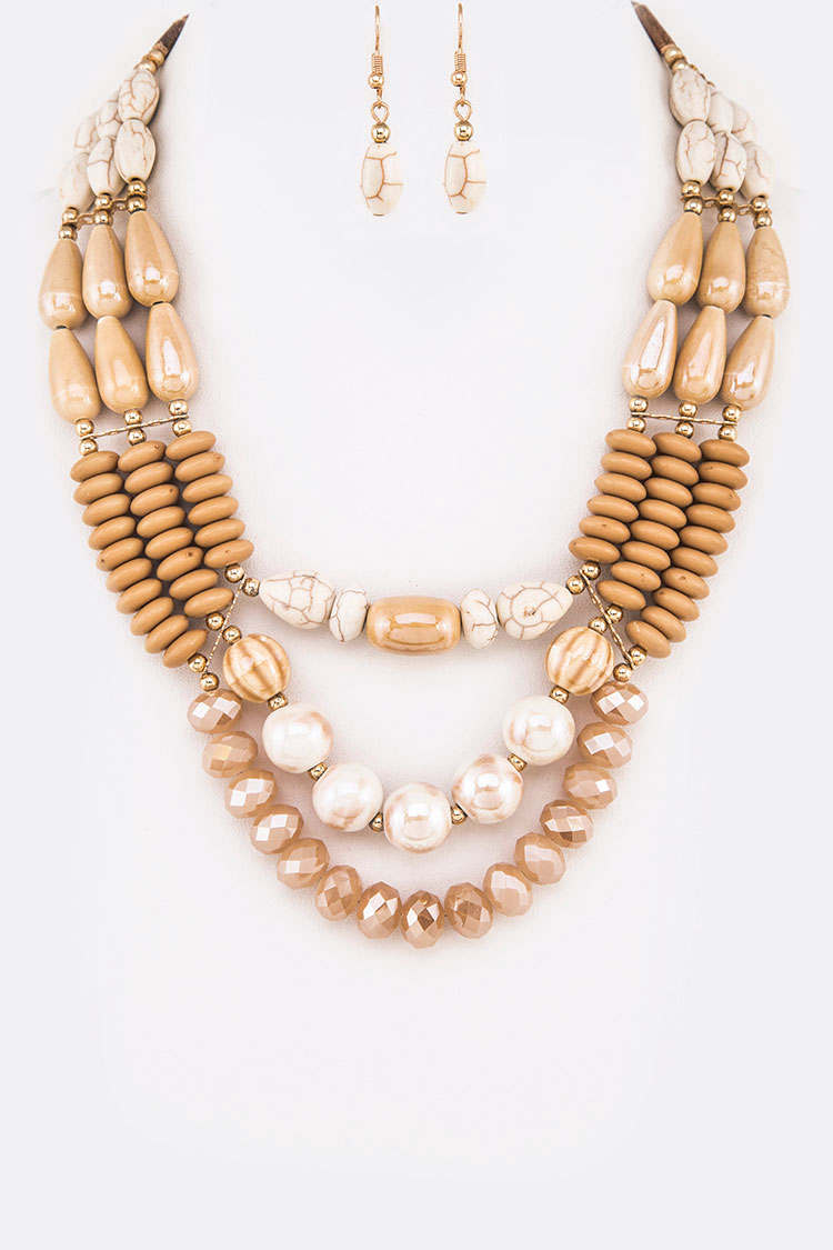 Mix Ceramic Beads Statement Layer Necklace Set