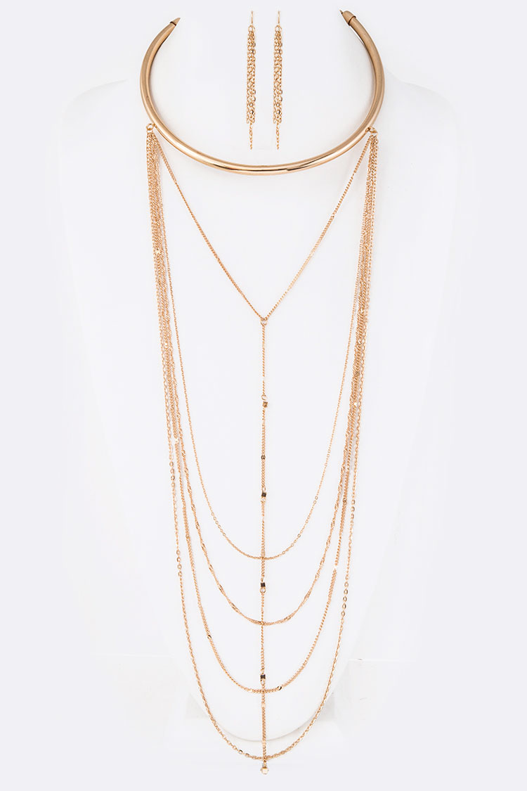 Metal Collar Layer Chain Necklace Set