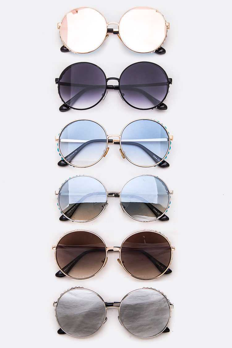 Crystal Accent Frame Iconic Round Sunglasses Set