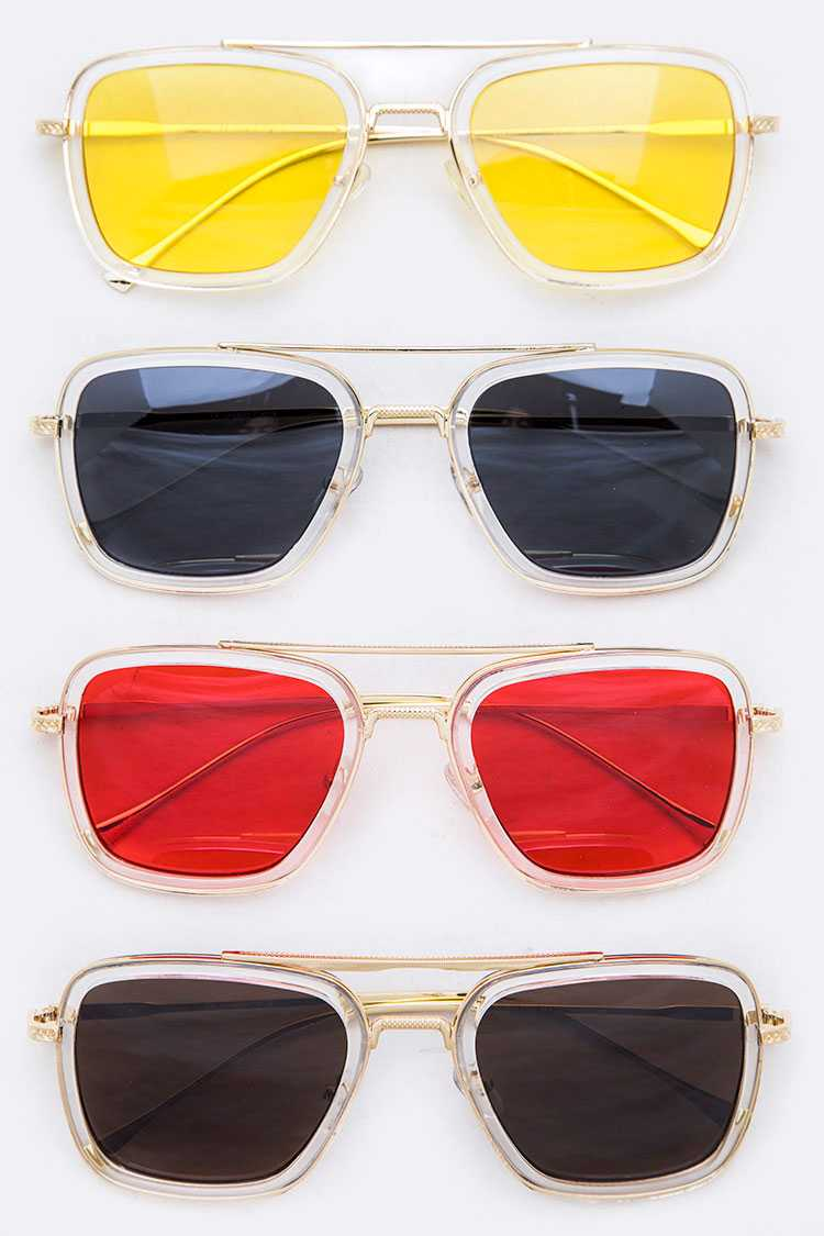 Iconic Color Tinted Lens Square Sunglasses Set
