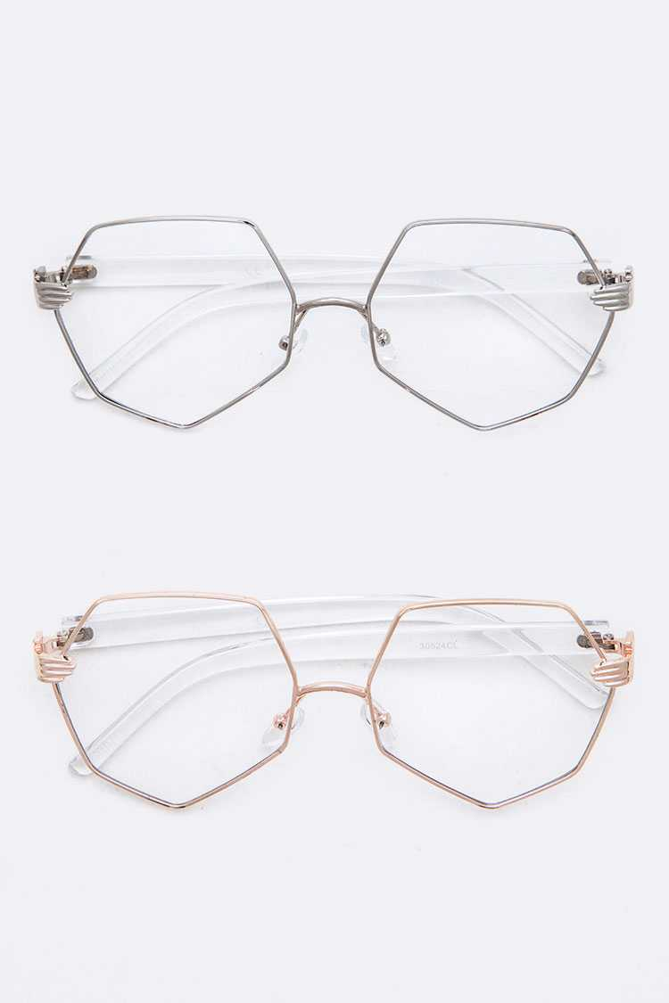 Iconic Hand Temple Optical Clear Lens Glasses