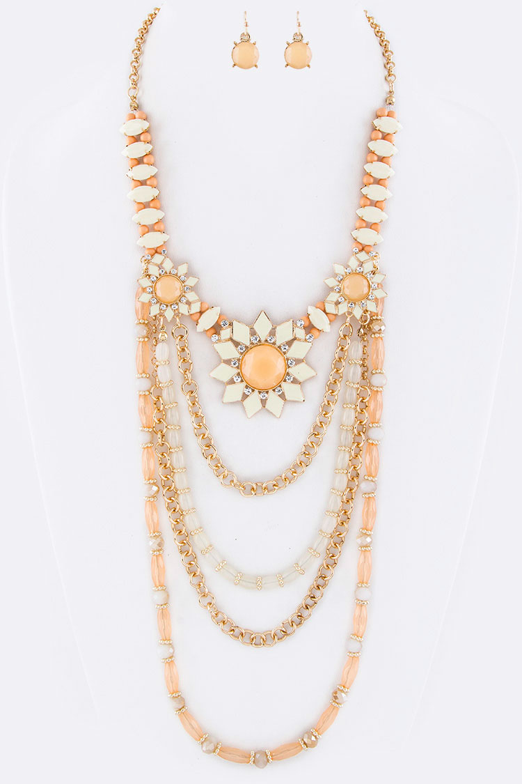 Beads & Chain Boho Layered Necklace Set