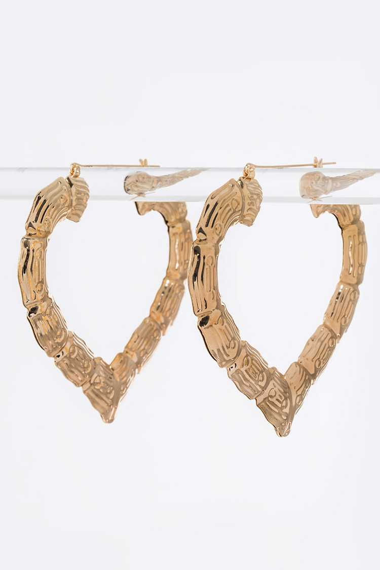 Bamboo Heart Shape Hoop Earrings