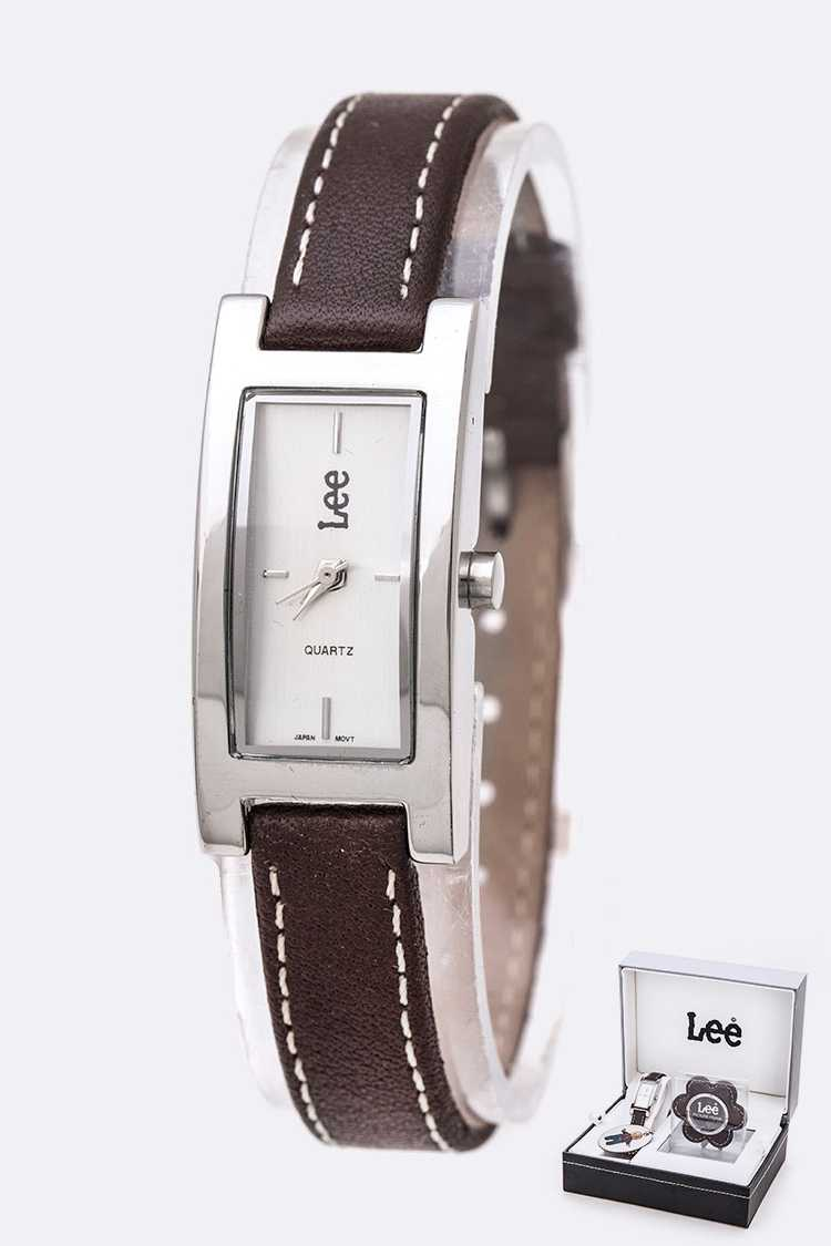 LEE Brand License Leather Band Fashion Watch Gift Set