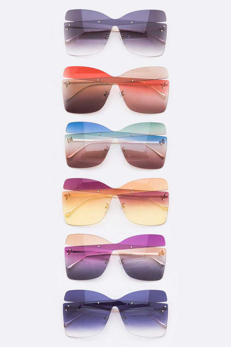 2 Tone Iconic Butterfly Sunglasses Set