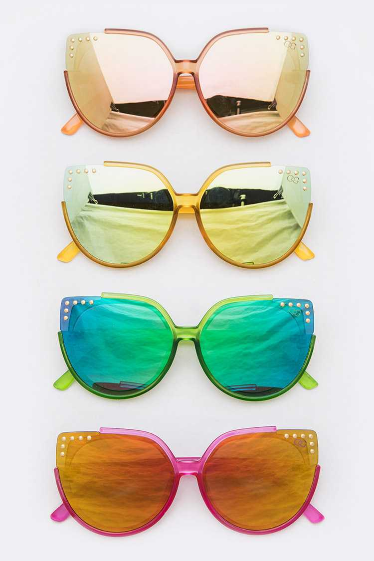 Studded Cat Eye Mirror Sunglasses Set