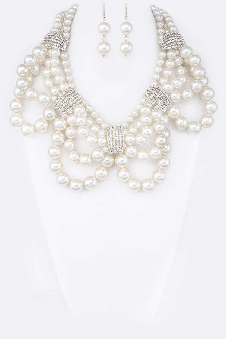 Crystal Bar Layer Pearl Bib Necklace Set