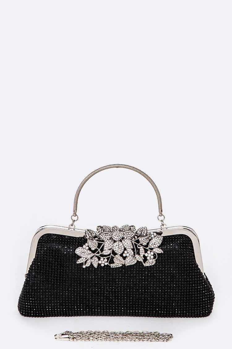 Crystal Statement Top Handle Convertible Evening Clutch