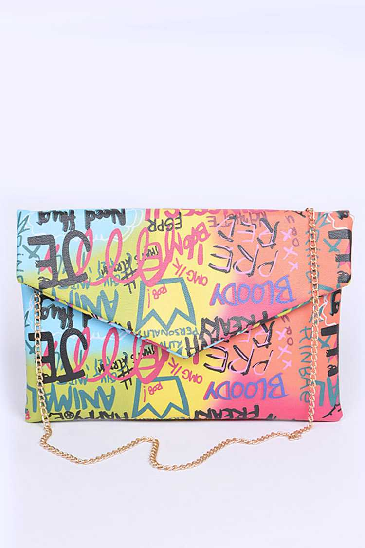 Graffiti Mix Color Iconic Envelope Clutch Bag