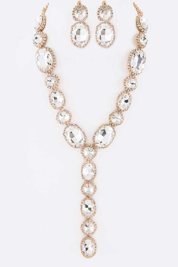 Crystal Iconic Long Drop Necklace Set